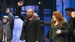 Sting appears at the curtain call following his debut performance in Broadway's The Last Ship in New York (Charles Sykes/Invision/AP)
