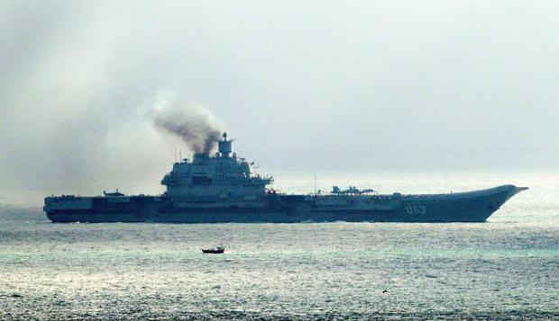 The Russian aircraft carrier Admiral Kuznetsov passes through the Strait of Dover as a fleet of Russian warships sail through the North Sea on their way to reinforce the attack on the besieged city of Aleppo in Syria
