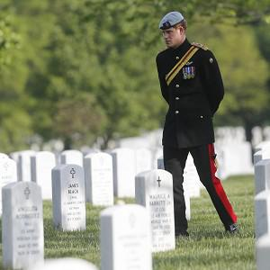 Prince Harry visits Section 60 at Arlington National Cemetery (AP)
