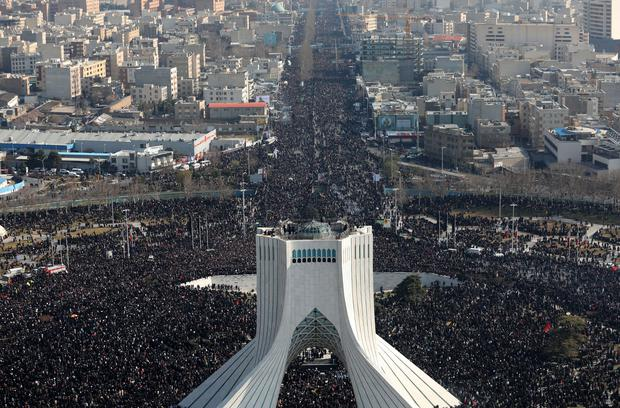 A crowd said by Tehran police to be in the millions turns out for Monday's funeral service for General Suleimani in Tehran (Office of the Iranian Supreme Leader/AP)