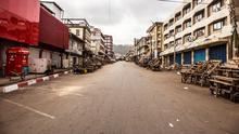 A deserted street in Freetown as Sierra Leone enters a country-wide lockdown on movement of people due to the Ebola virus. (AP)