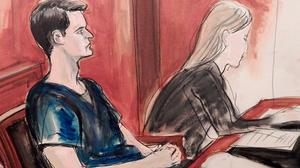 In this courtroom sketch, Ross Ulbricht is seated in court and awaiting sentencing in New York (AP/Elizabeth Williams)