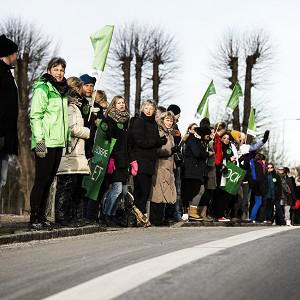 Danish teachers formed a 20-mile line during a dispute over conditions (AP)