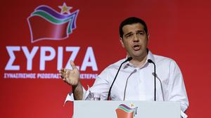 Greek Prime Minister Alexis Tsipras addresses a meeting of his ruling radical left Syriza party's central committee in Athens. (AP)
