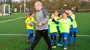 SIDELINED: Boris Johnson stalks off after a short kickabout with a girls U10 side in Cheshire while on the election trail. The Tories are pledging extra cash for grassroots football to bolster the UK and Ireland's bid for the 2030 World Cup. Photo: Stefan Rousseau/PA