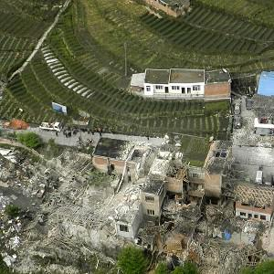 Houses were destroyed during a powerful earthquake in Taiping town, Lushan County, in Ya'an City (AP/Xinhua, Liu Yinghua)