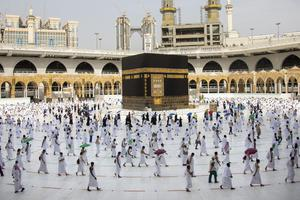 Pilgrims walk around the Kabba at the Grand Mosque, in the Muslim holy city of Mecca in Saudi Arabia (Saudi Ministry of Media via AP)