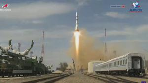 The Soyuz-2.1a rocket booster with Soyuz MS-16 space ship carrying a new crew to the International Space Station, ISS, blasts off at the Russian leased Baikonur cosmodrome, Kazakhstan, Thursday, April 9, 2020. The Russian rocket carries U.S. astronaut Chris Cassidy, Russian cosmonauts Anatoly Ivanishin and Ivan Vagner. (Roscosmos Space Agency via AP)