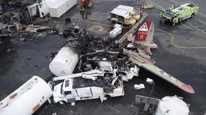 The plane crashed and burned after experiencing mechanical trouble on takeoff (NTSB/AP)
