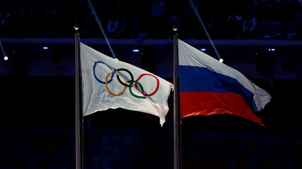 The Russia and IOC flags