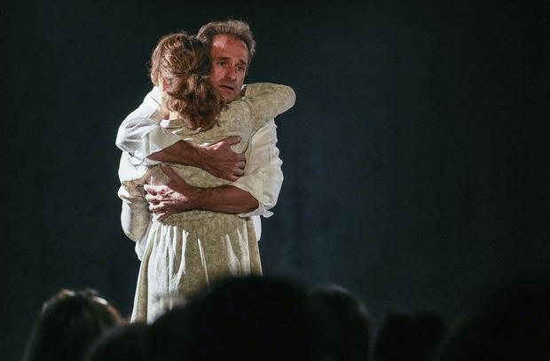 Actor Carmen Vadillo and author and actor Laurent Martinez perform on stage (AP)