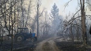 Chernobyl zone workers extinguish a forest fire burning near the village of Volodymyrivka, in the exclusion zone around the Chernobyl nuclear power plant  (AP Photo/Yaroslav Yemelianenko)