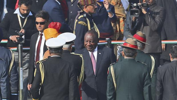South African President Cyril Ramaphosa was guest of honour (Manish Swarup/AP)