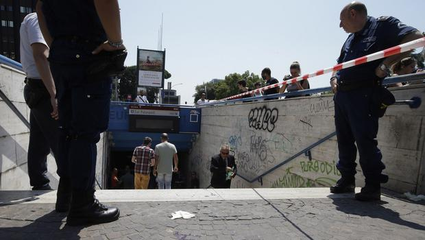 A cordon at the entrance to a subway station after the accident in Rome. (AP)
