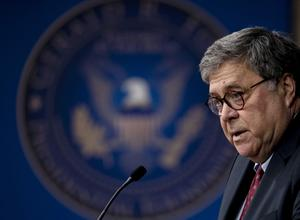 Mr Barr spoke at the Gerald R Ford Presidential Museum (Nicole Hester/AP)