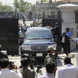 Pakistan's former president and military ruler Pervez Musharraf leaves the High Court in Islamabad, Pakistan (AP)
