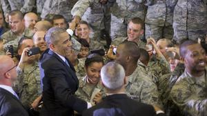 President Barack Obama spoke with troops at MacDill Air Force Base in Florida (AP)