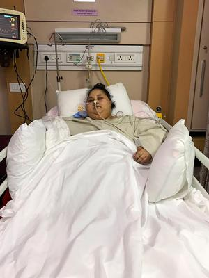 Eman Ahmed Abd El Aty in hospital in Mumbai after surgery. Photo: AFP/Getty Images