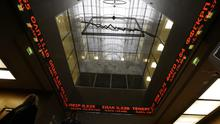 The Stock Exchange in Athens shows falling stocks in red