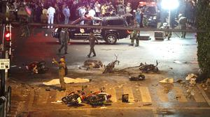 Debris from an explosion in central Bangkok that killed 20 people. (AP)