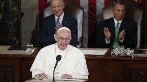 Pope Francis addresses a joint meeting of Congress on Capitol Hill in Washington (AP)