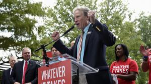 Andy Parker speaks at a rally against gun violence on Capitol Hill in Washington. (AP)