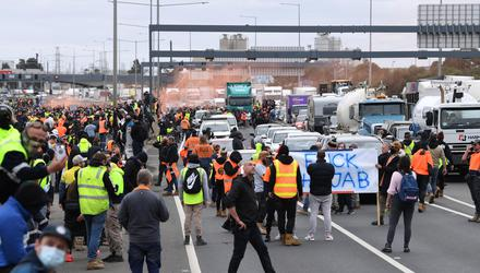 Construction workers and far right activists protest against coronavirus disease (Covid-19) restrictions on the West Gate Freeway in Melbourne. Photo: AAP Image/James Ross via REUTERS.