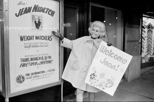 DOLLARS FROM POUNDS: Jean Nidetch, founder of Weight Watchers International, posing in Times Sqaure, New York