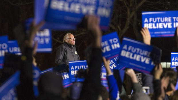 Democratic presidential candidate Bernie Sanders speaks during a rally in Washington Square Park in New York (AP)