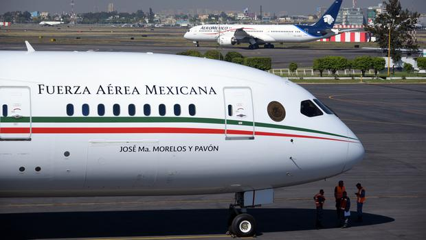 The Mexican presidential plane at Benito Juarez International Airport in Mexico City (Mexican Presidential press office via AP)
