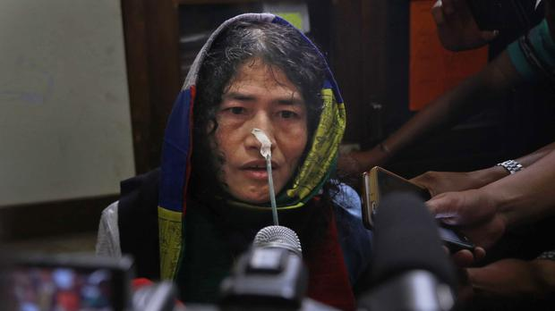 India's hunger-striking activist Irom Sharmila addresses a press conference (AP)
