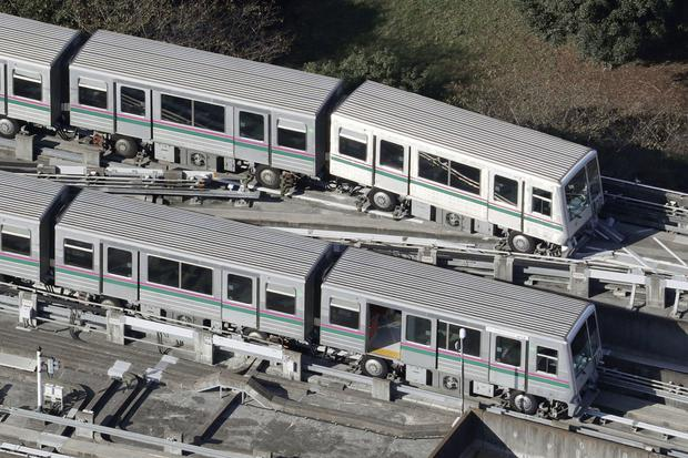 Trains were derailed during the tremor (AP)