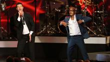 Robin Thicke and T.I. perform Blurred Lines in Los Angeles in 2013 (AP)