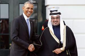 President Obama  welcomes Bahrain's Crown Prince Salman bin Hamad bin Isa al-Khalifa as he plays host to leaders and delegations from the Gulf Cooperation Council countries