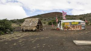 The base camp for protesters against the telescope project, near the summit of Mauna Kea on Hawaii's Big Island (AP)
