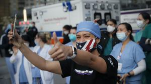 New York has been the epicentre of the coronavirus outbreak in the US, where some states have begun lifting lockdown measures (John Minchillo/AP)