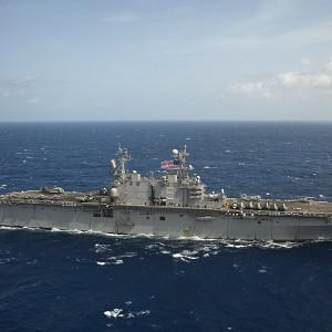USS Peleliu was diverted by the US Navy to assist with the search for sailor Luke Stinson (US Navy/AP)