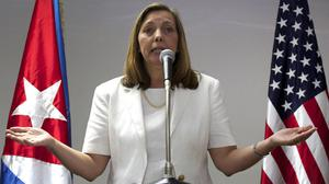 Josefina Vidal speaks during a briefing after taking part in talks with US officials in Havana (AP)