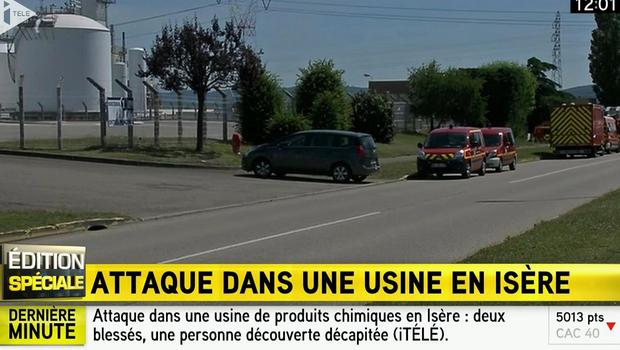 Emergency services at the scene outside a factory where a man was beheaded, in Saint-Quentin-Fallavier, near Grenoble in France (I Tele/PA)
