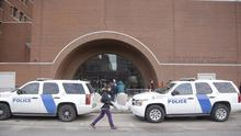 Homeland Security vehicles outside the main doors of the federal courthouse in Boston, during the federal death penalty trial of Dzhokhar Tsarnaev (AP)