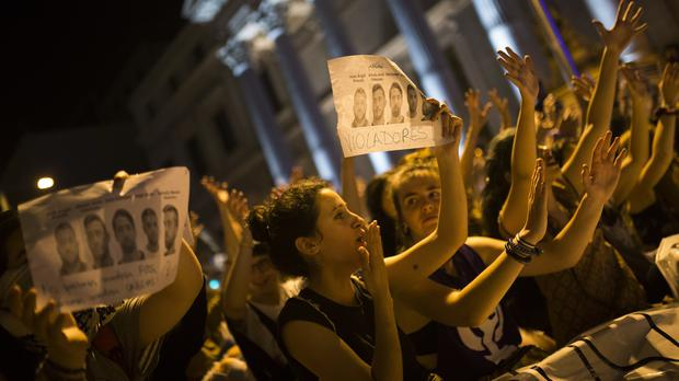 Protesters outside the Spanish parliament