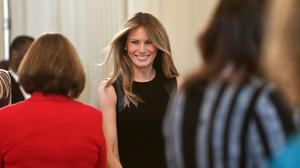 First Lady Melania Trump arrives in the State Dining room of the White House. (AP/Pablo Martinez Monsivais)