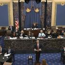The case now moves toward written questions (Senate Television via AP)