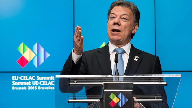 Juan Manuel Santos said Farc guerrillas blew up an energy pylon and blacked out much of the region of Caqueta (AP)