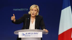 Far-right candidate for the presidential election Marine Le Pen delivers a speech during a meeting in Bordeaux. (AP/Bob Edme)