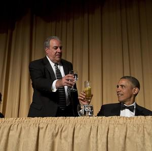 Michael Clemente, of Fox News, toasts President Barack Obama at a dinner at the Washington Hilton Hotel (AP)
