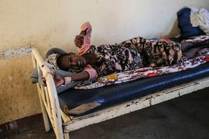 Cry for help: A Tigray woman goes into labour at the clinic in Hamdayet