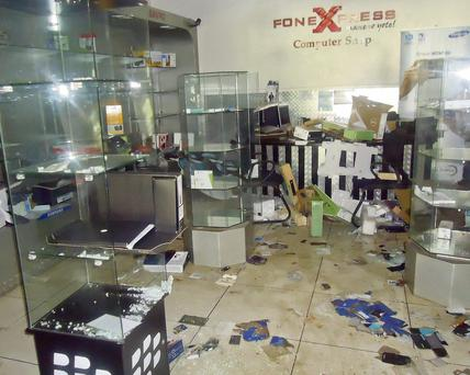The ransacked Fone Xpress shop in Westgate mall