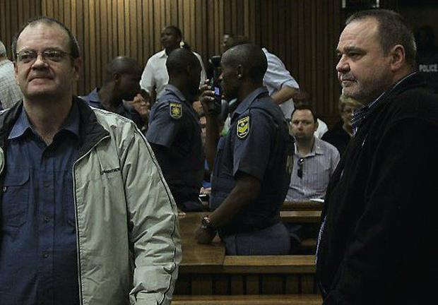 Afrikaner extremists Andre du Toit, far left, and his brother Mike du Toit, plotted to kill Nelson Mandela and reinstate apartheid in a coup