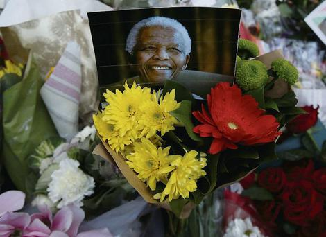 Flowers and tributes for Nelson Mandela at South Africa's High Commission in London